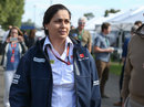 Monisha Kaltenborn walks through the paddock