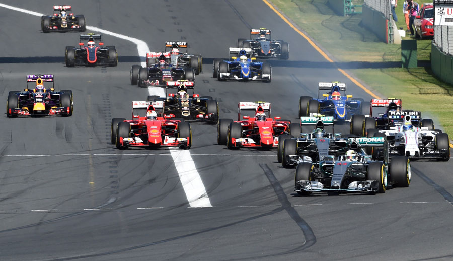 Lewis Hamilton leads the pack into the first corner