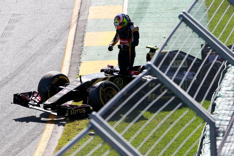 Pastor Maldonado's race ends at Turn 2