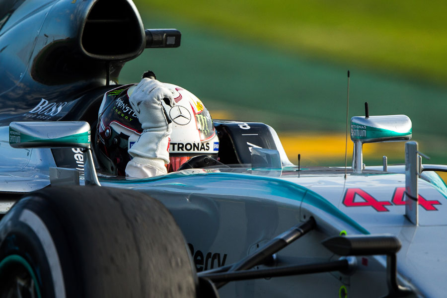Lewis Hamilton celebrates his victory from the cockpit