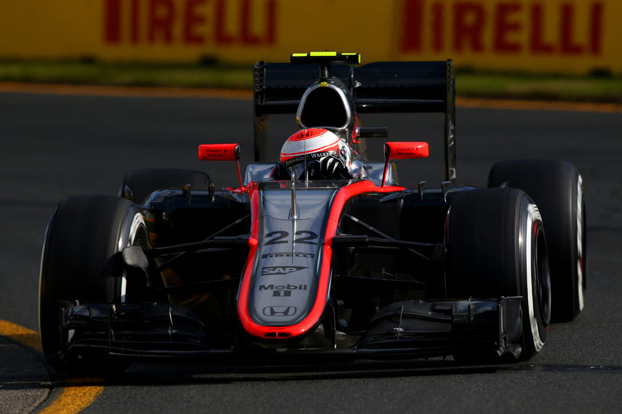 Jenson Button on track in the McLaren