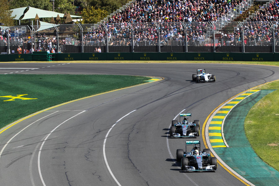 The two Mercedes lead Felipe Massa