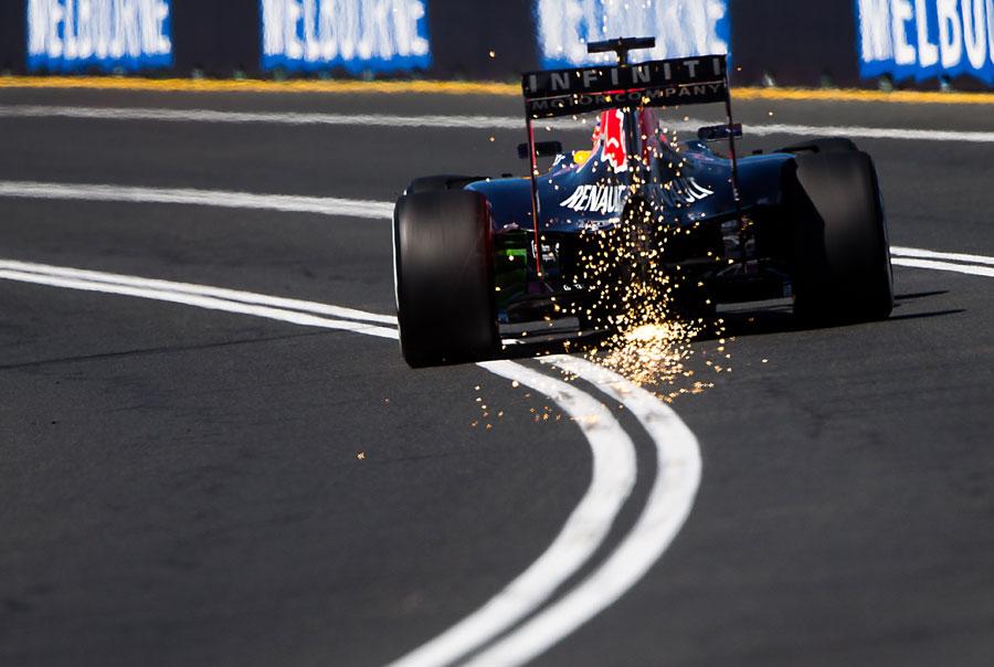 Sparks fly from Daniel Ricciardo's Red Bull