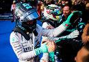 Nico Rosberg and Lewis Hamilton celebrate victory