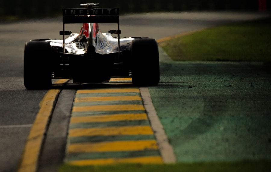 Daniel Ricciardo uses the exit kerb