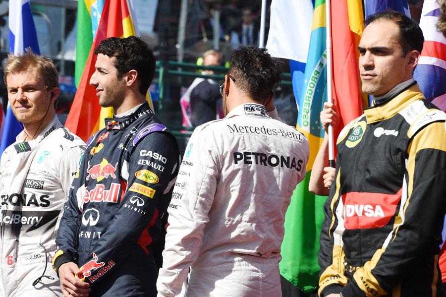 Lewis Hamilton turns away during the Australian national anthem