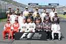 The 2015 grid - minus Fernando Alonso and Valtteri Bottas - pose for the traditional shot
