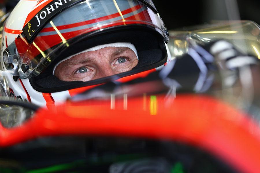 Jenson Button in the McLaren cockpit