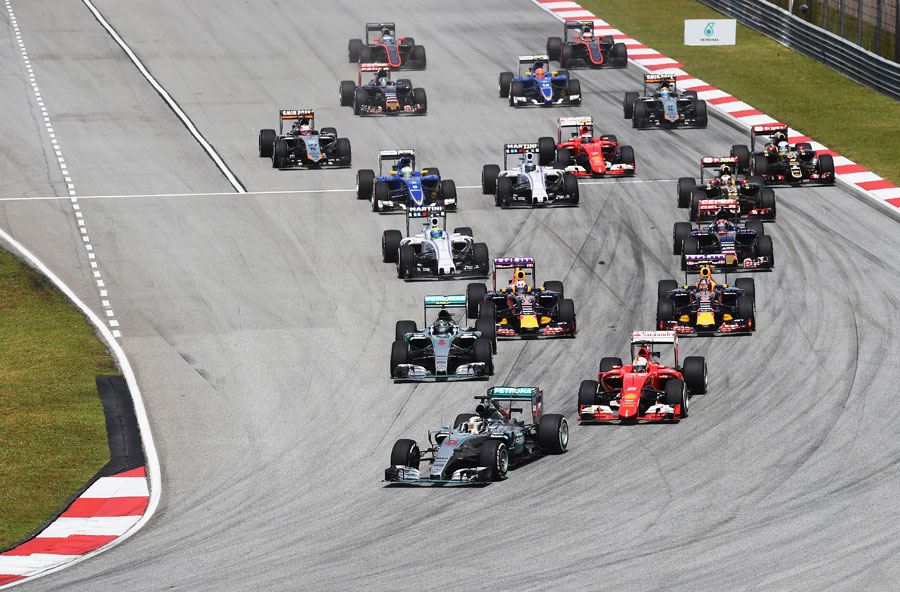 Lewis Hamilton leads the pack into turn one