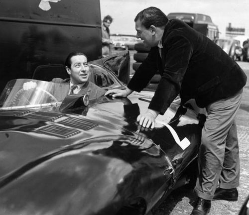 Tony Rolt (L) and Duncan Hamilton at Silverstone