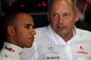 Lewis Hamilton (L) with McLaren team principal Ron Dennis