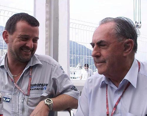 Minardi team owner Paul Stoddart (L) with Sir Jack Brabham