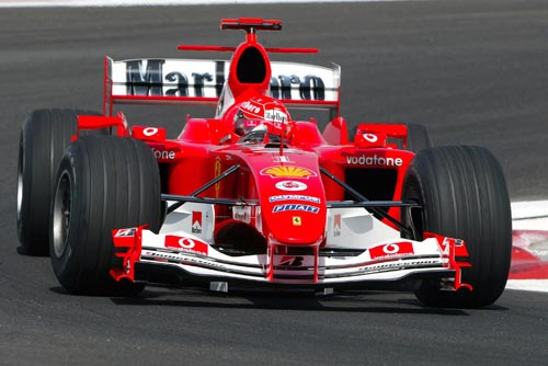 Michael Schumacher drives the F2004 in practice for the Bahrain Grand Prix