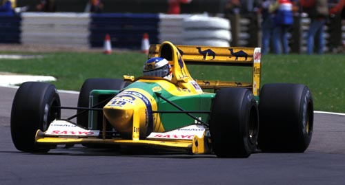 Michael Schumacher in action for Benetton at the 1992 British Grand Prix
