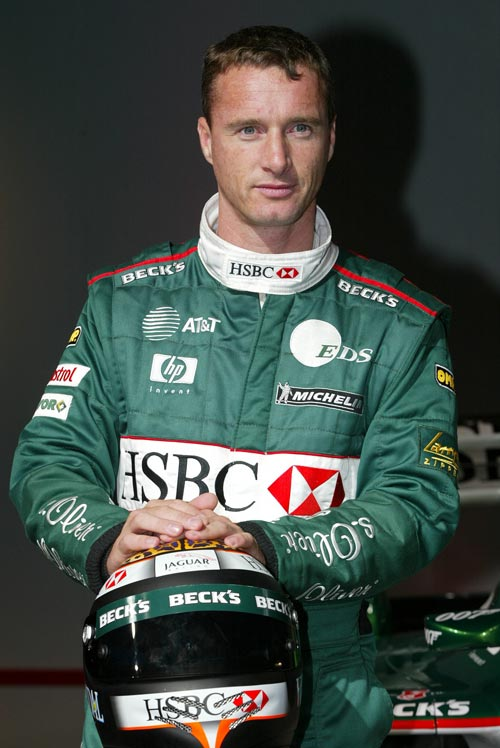 Eddie Irvine's team shot for Jaguar in 2002