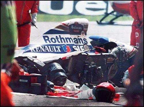 Ayrton Senna's car after its crash at the Imola circuit.