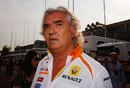 Flavio Briatore is seen in the paddock following practice