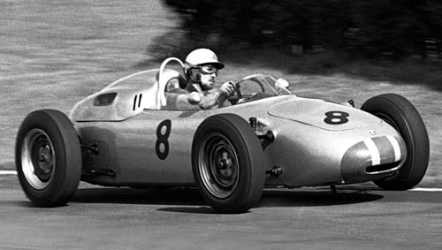 Jo Bonnier in action for Porsche at the 1961 British Grand Prix