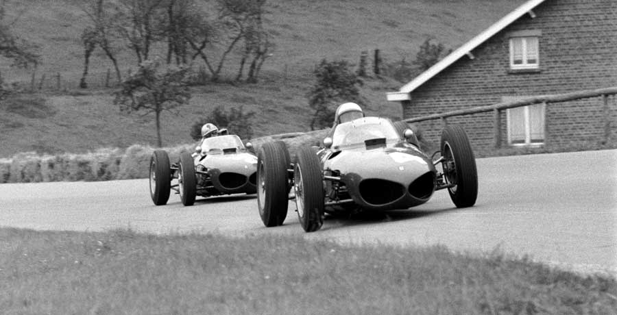 Ferrari's Phil Hill leads team-mate Wolfgang von Trips