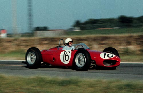 Phil Hill in action for Ferrari