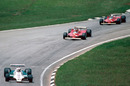Alan Jones leads Gilles Villeneuve and Jody Scheckter