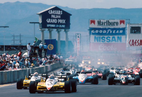 Alain Prost leads his Renault team-mate Rene Arnoux at the start