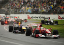 Mark Webber and Felipe Massa escape the first corner melee, Australian Grand Prix, Melbourne, March 28, 2010