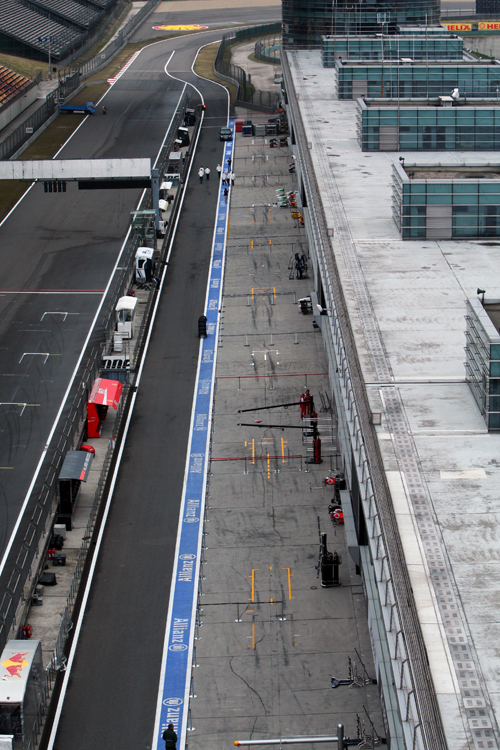 An empty pit lane at the Shanghai International Circuit