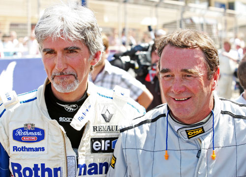 Damon Hill and Nigel Mansell at the champions parade