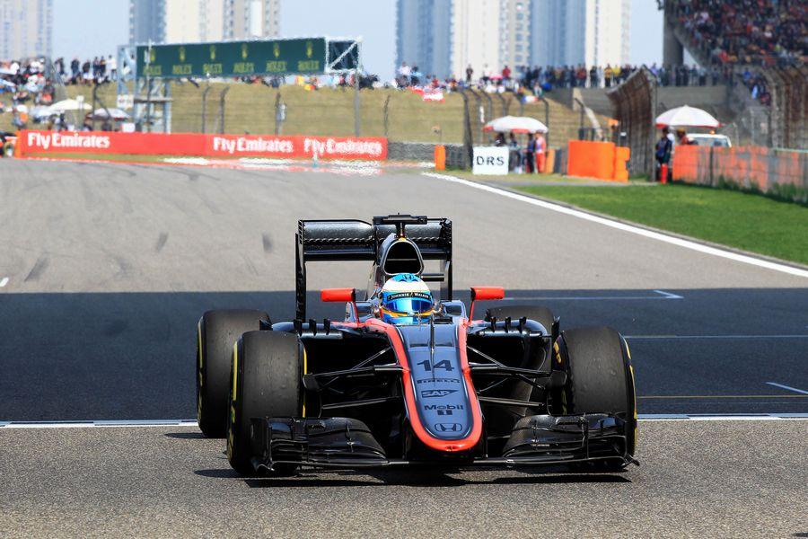Fernando Alonso on track in the McLaren