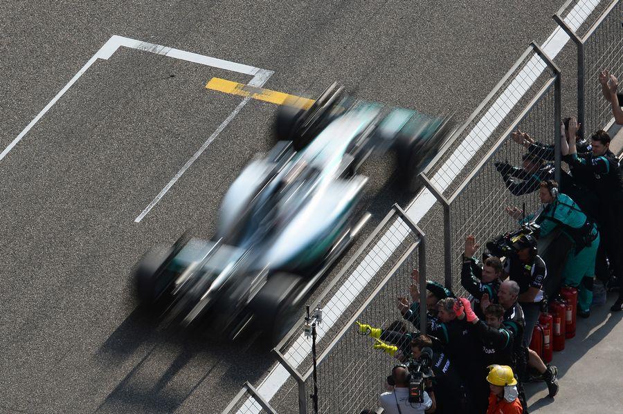 Mercedes congratulates race-winner Lewis Hamilton