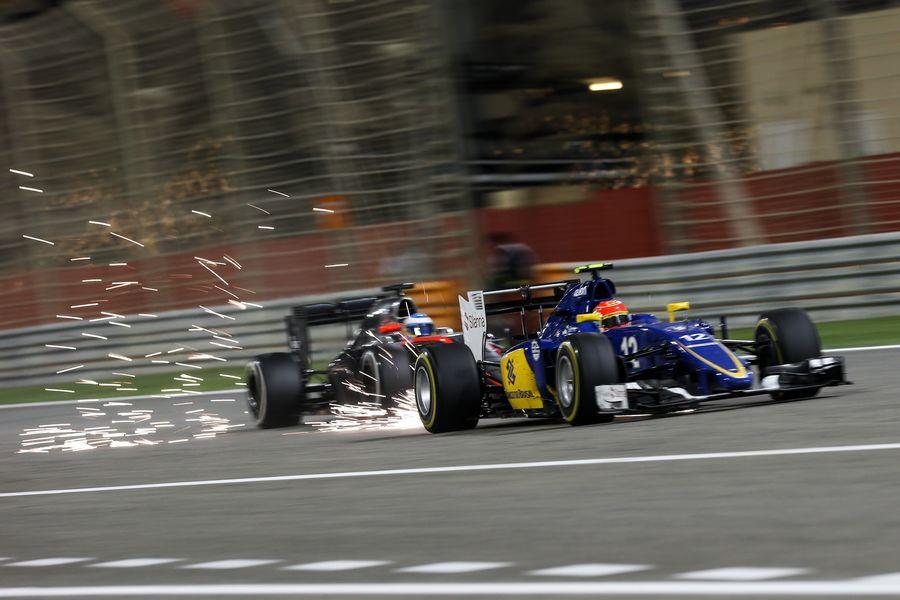 Felipe Nasr leads Fernando Alonso