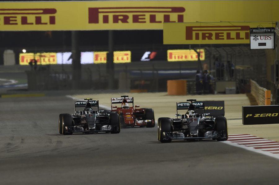 Lewis Hamilton leads Nico Rosberg and Sebastian Vettel