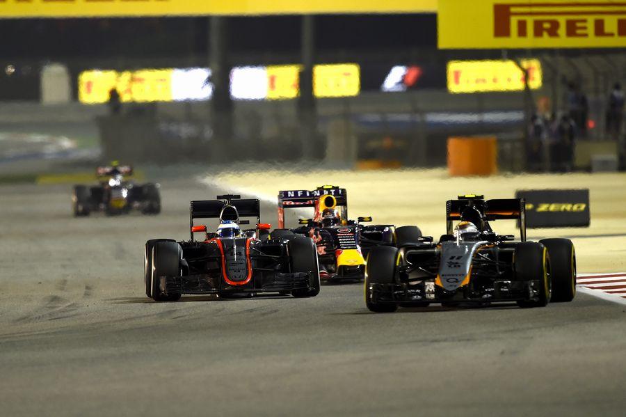 Sergio Perez leads Fernando Alonso and Daniil Kvyat
