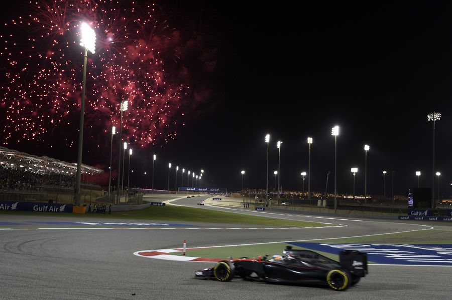 Fernando Alonso on track during fireworks after race