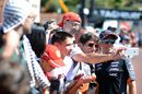 Sergio Perez poses for a selfie with the fans