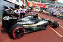 Sergio Perez leaves the garage