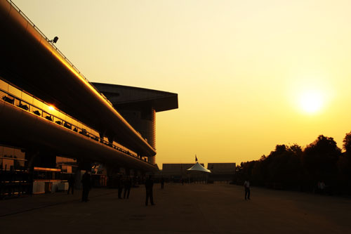 The sun sets in Shanghai