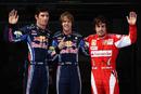 Mark Webber, Sebastian Vettel and Fernando Alonso pose for photos