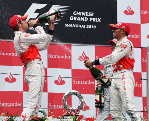 Champagne time for Lewis Hamilton and Jenson Button