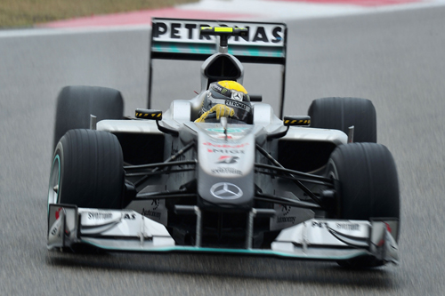 Nico Rosberg on his way to a third-place finish
