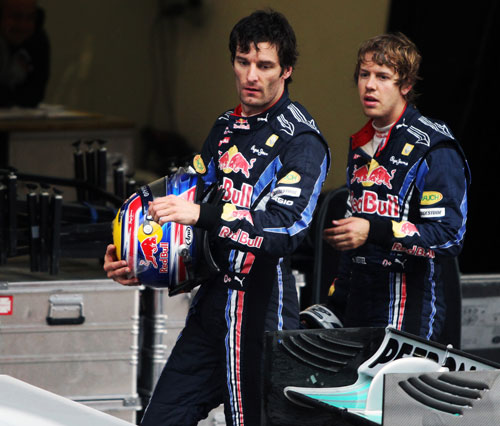 Mark Webber and Sebastian Vettel after a difficult race