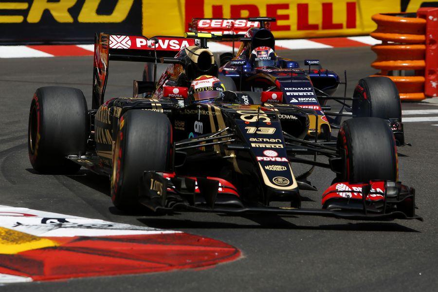 Pastor Maldonado enters the Nouvelle chicane ahead of Max Verstappen