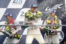 Nico Hulkenberg, Earl Bamber and Nick Tandy celebrate Le Mans 24 Hours win