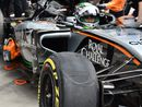 Flat spot on Sergio Perez's front tyre