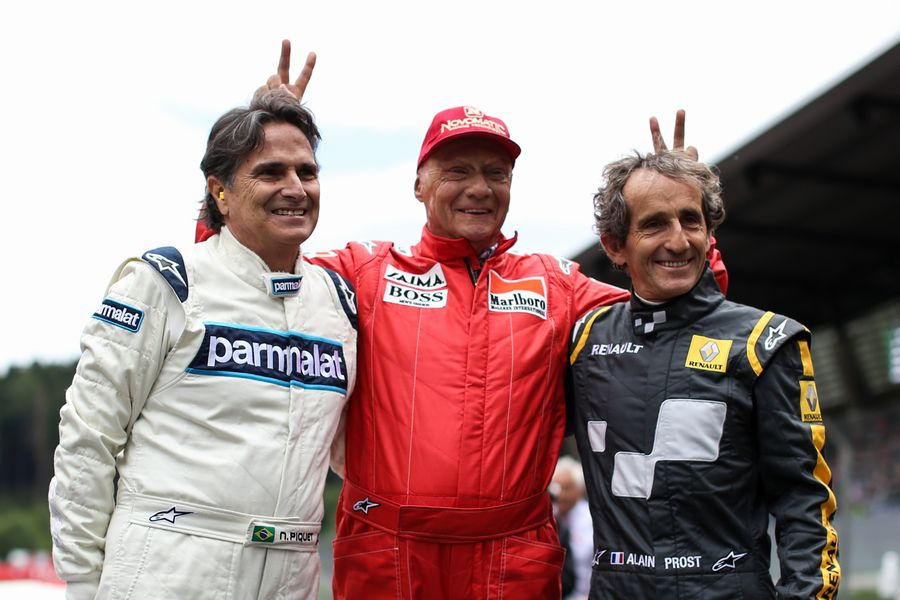 Alain Prost, Nelson Piquet and Niki Lauda at the Legends Parade