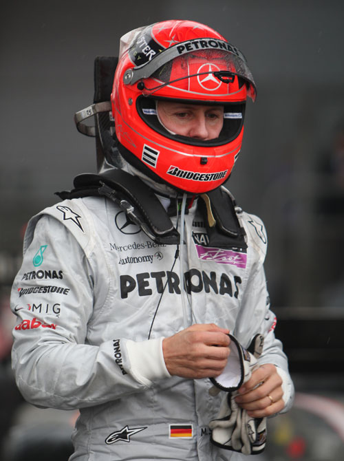 Michael Schumacher after finishing tenth in Shanghai