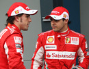 Fernando Alonso and Felipe Massa after the race