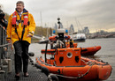 Ross Brawn disembarks from an RNLI lifeboat to launch The Brawn Lifeboat Challenge
