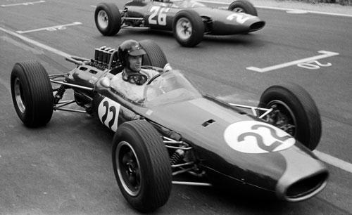 Dan Gurney celebrates Brabham's first victory